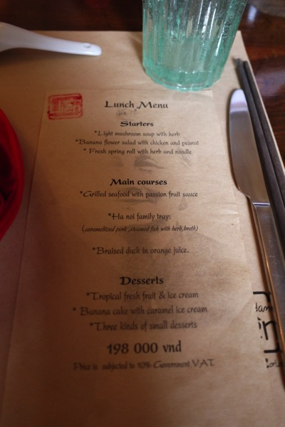 Madame Hien Lunch Menu