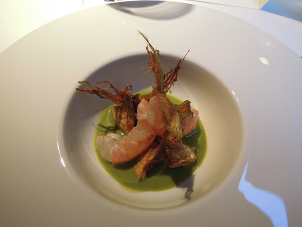 Crayfish and artichokes in three textures
