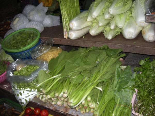 バンコク市場の野菜