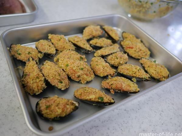 ムール貝の詰め物揚げ